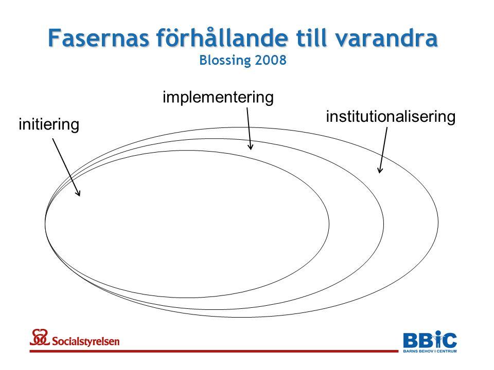 Fasernas förhållande till varandra Fasernas förhållande till varandra Blossing 2008 initiering institutionalisering implementering