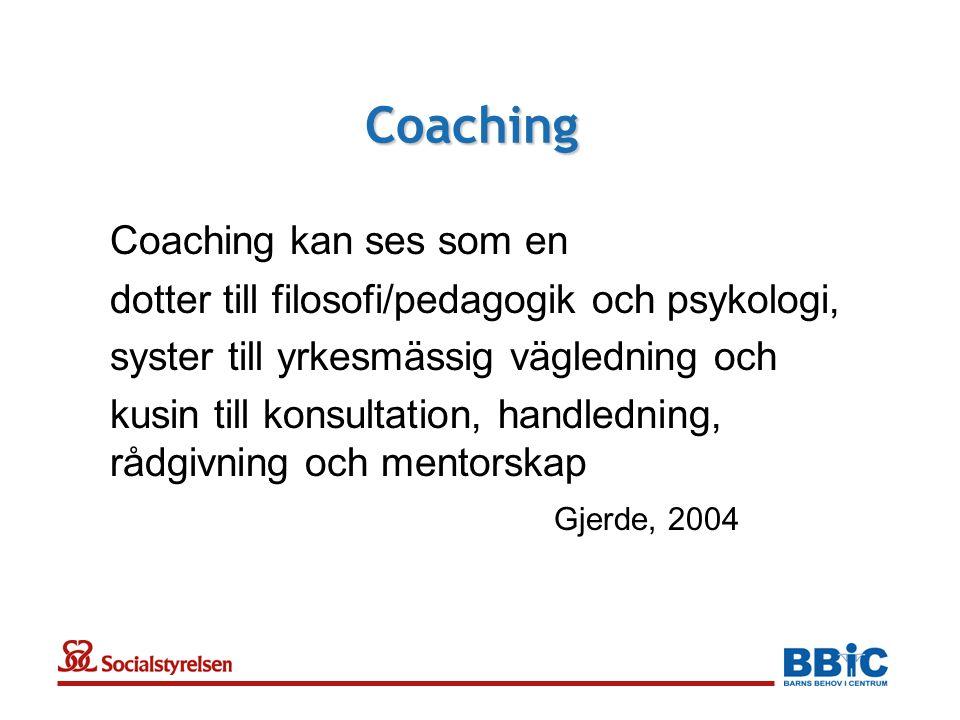 Coaching Coaching kan ses som en dotter till filosofi/pedagogik och psykologi, syster till yrkesmässig vägledning och kusin till konsultation, handledning, rådgivning och mentorskap Gjerde, 2004