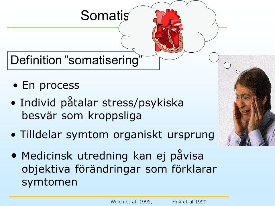 """Definition """"somatisering"""" Somatisering Weich et al. 1995, Fink et al.1999 • En process • Individ påtalar stress/psykiska besvär som kroppsliga • Tilld"""