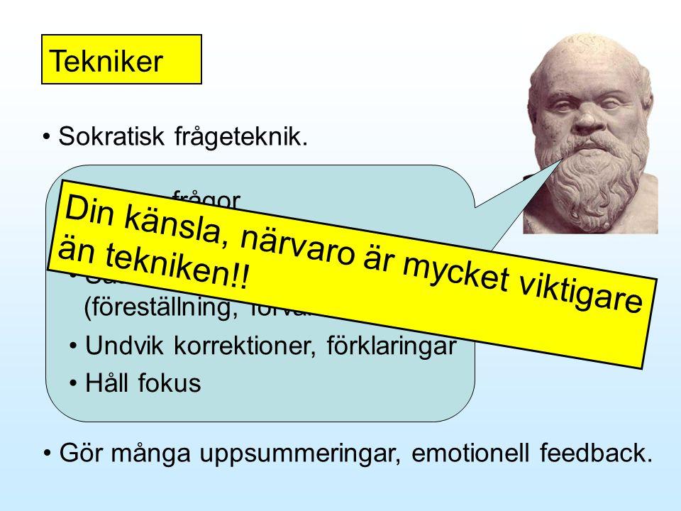 Tekniker • Gör många uppsummeringar, emotionell feedback. • Sokratisk frågeteknik. • Nyfikenhet • Sätt dig in i hur patienten tänker (föreställning, f