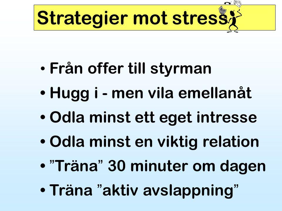 """Strategier mot stress • Från offer till styrman • Hugg i - men vila emellanåt • Odla minst ett eget intresse • Odla minst en viktig relation • """" Träna"""