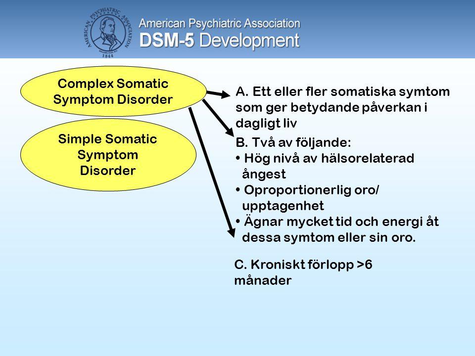 Complex Somatic Symptom Disorder Simple Somatic Symptom Disorder A. Ett eller fler somatiska symtom som ger betydande påverkan i dagligt liv B. Två av