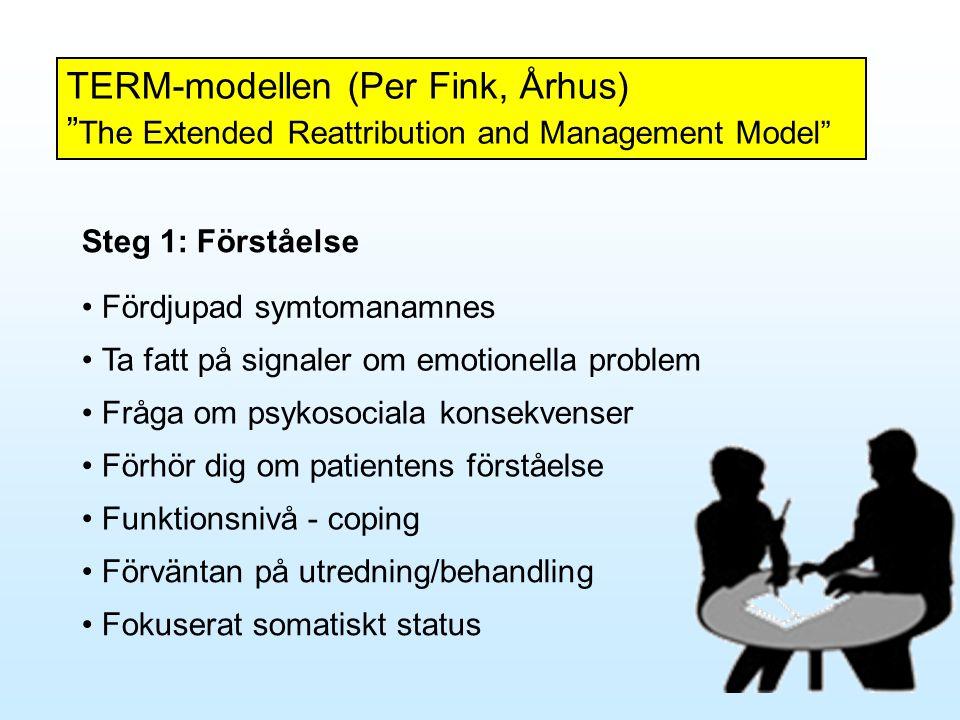"""TERM-modellen (Per Fink, Århus) """" The Extended Reattribution and Management Model"""" Steg 1: Förståelse • Fördjupad symtomanamnes • Ta fatt på signaler"""