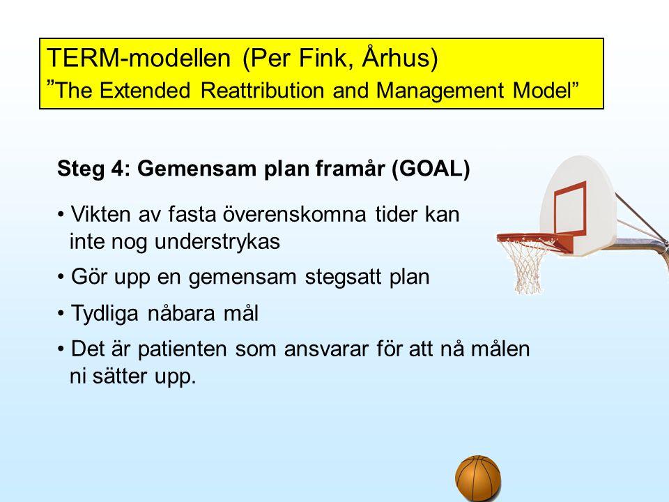 """TERM-modellen (Per Fink, Århus) """" The Extended Reattribution and Management Model"""" Steg 4: Gemensam plan framår (GOAL) • Vikten av fasta överenskomna"""