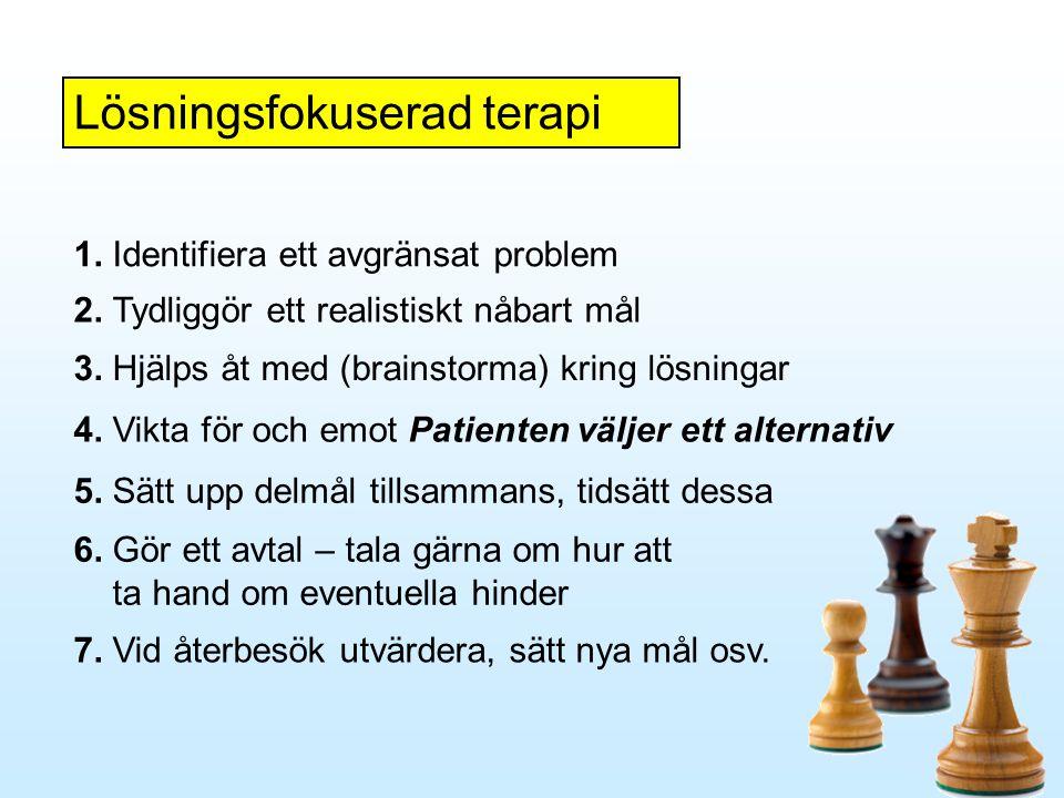 Lösningsfokuserad terapi 1. Identifiera ett avgränsat problem 2. Tydliggör ett realistiskt nåbart mål 3. Hjälps åt med (brainstorma) kring lösningar 4