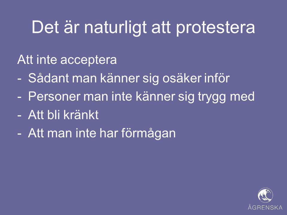 Det är naturligt att protestera Att inte acceptera -Sådant man känner sig osäker inför -Personer man inte känner sig trygg med -Att bli kränkt -Att ma