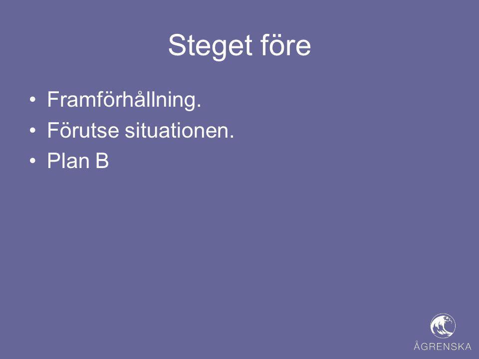 Steget före •Framförhållning. •Förutse situationen. •Plan B