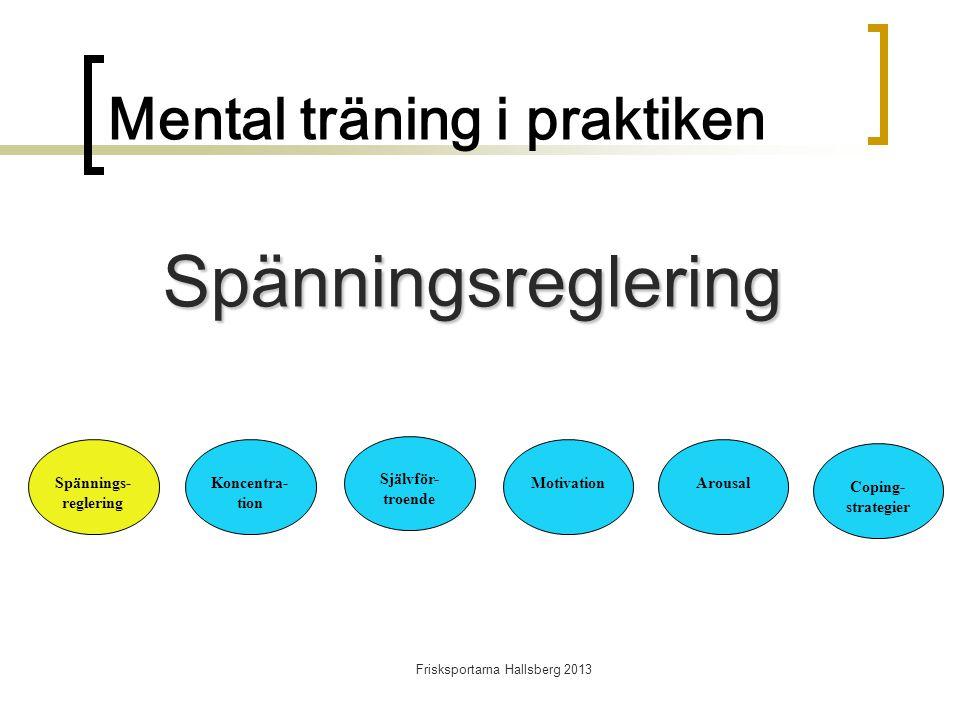 Frisksportarna Hallsberg 2013 Mental träning i praktiken Spännings- reglering Koncentra- tion Självför- troende MotivationArousal Coping- strategier Spänningsreglering