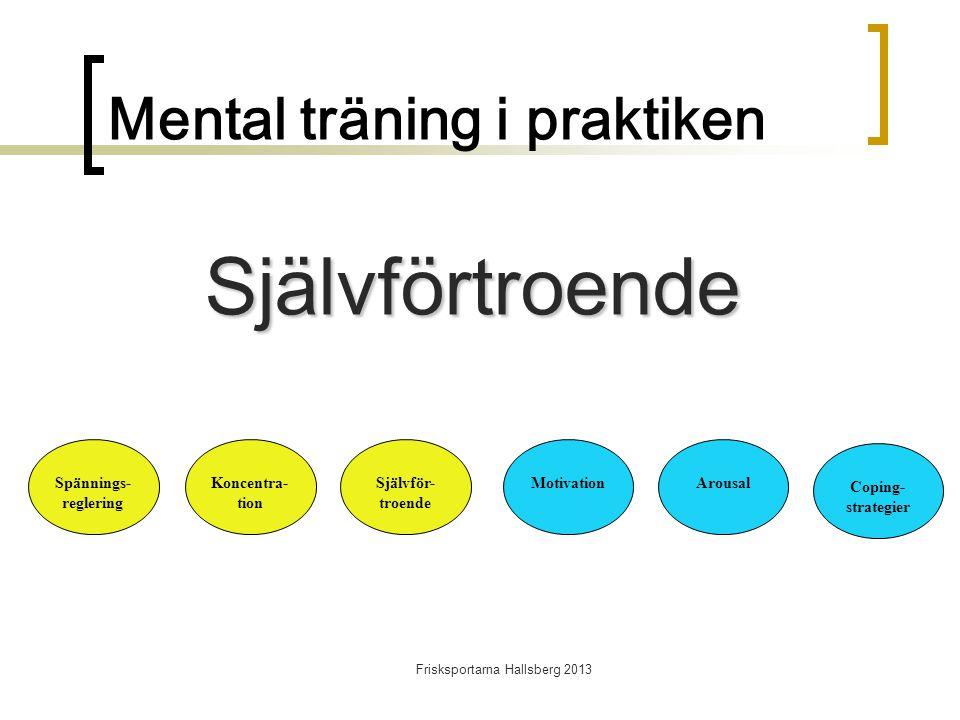 Frisksportarna Hallsberg 2013 Mental träning i praktiken Spännings- reglering Koncentra- tion Självför- troende MotivationArousal Coping- strategier Självförtroende