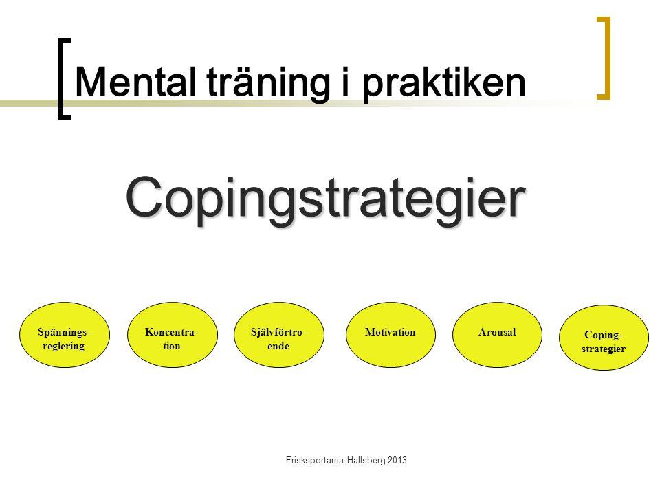 Frisksportarna Hallsberg 2013 Mental träning i praktiken Spännings- reglering Koncentra- tion Självförtro- ende MotivationArousal Coping- strategier Copingstrategier