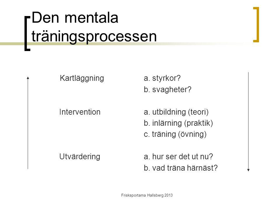 Den mentala träningsprocessen Kartläggninga. styrkor.