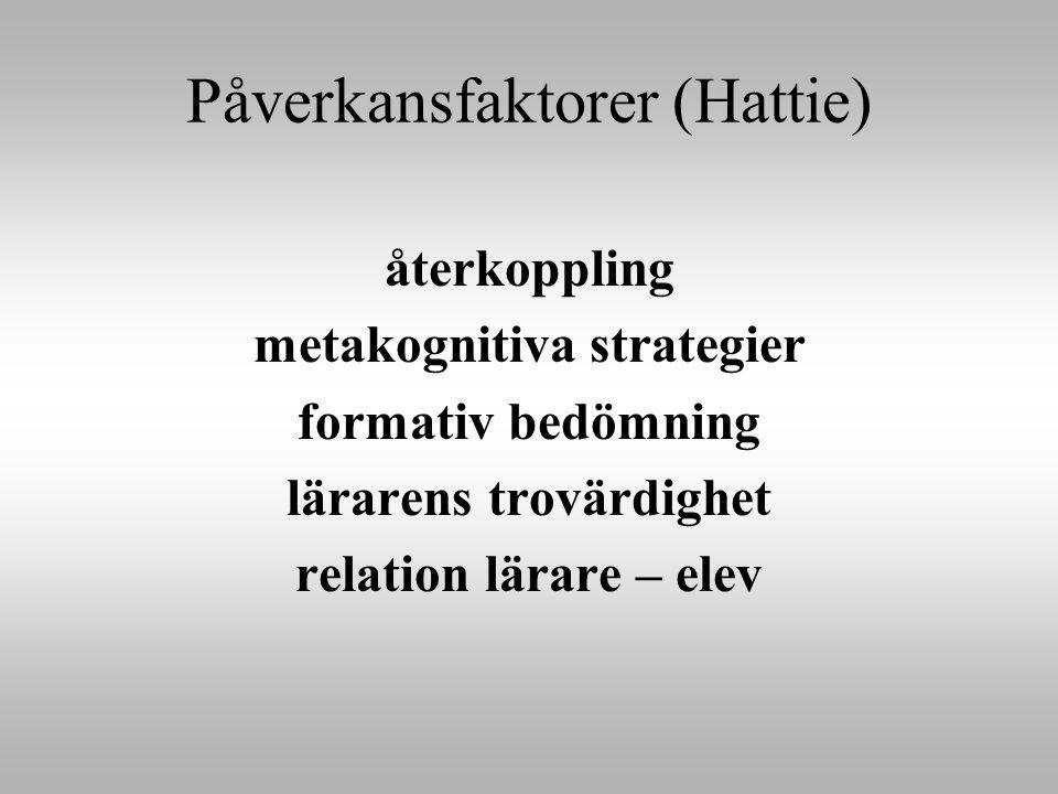 Påverkansfaktorer (Hattie) återkoppling metakognitiva strategier formativ bedömning lärarens trovärdighet relation lärare – elev
