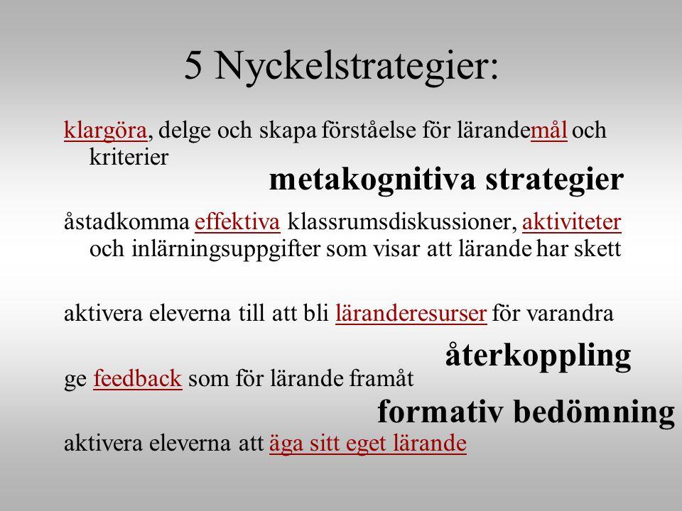 5 Nyckelstrategier: klargöra, delge och skapa förståelse för lärandemål och kriterier åstadkomma effektiva klassrumsdiskussioner, aktiviteter och inlärningsuppgifter som visar att lärande har skett aktivera eleverna till att bli läranderesurser för varandra ge feedback som för lärande framåt aktivera eleverna att äga sitt eget lärande återkoppling metakognitiva strategier formativ bedömning