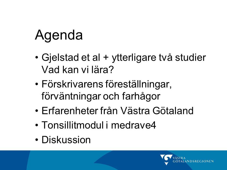 Agenda •Gjelstad et al + ytterligare två studier Vad kan vi lära? •Förskrivarens föreställningar, förväntningar och farhågor •Erfarenheter från Västra