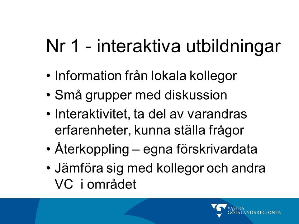 Nr 1 - interaktiva utbildningar •Information från lokala kollegor •Små grupper med diskussion •Interaktivitet, ta del av varandras erfarenheter, kunna
