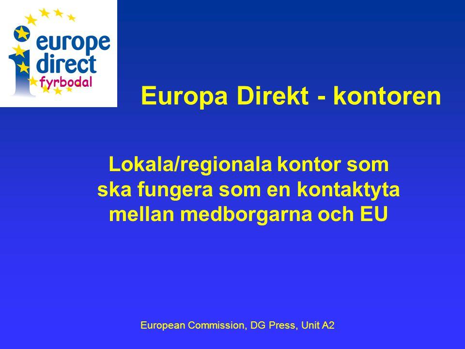 Europa Direkt - kontoren Lokala/regionala kontor som ska fungera som en kontaktyta mellan medborgarna och EU European Commission, DG Press, Unit A2 fyrbodal