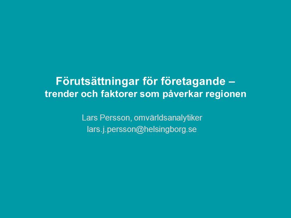 Förutsättningar för företagande – trender och faktorer som påverkar regionen Lars Persson, omvärldsanalytiker lars.j.persson@helsingborg.se