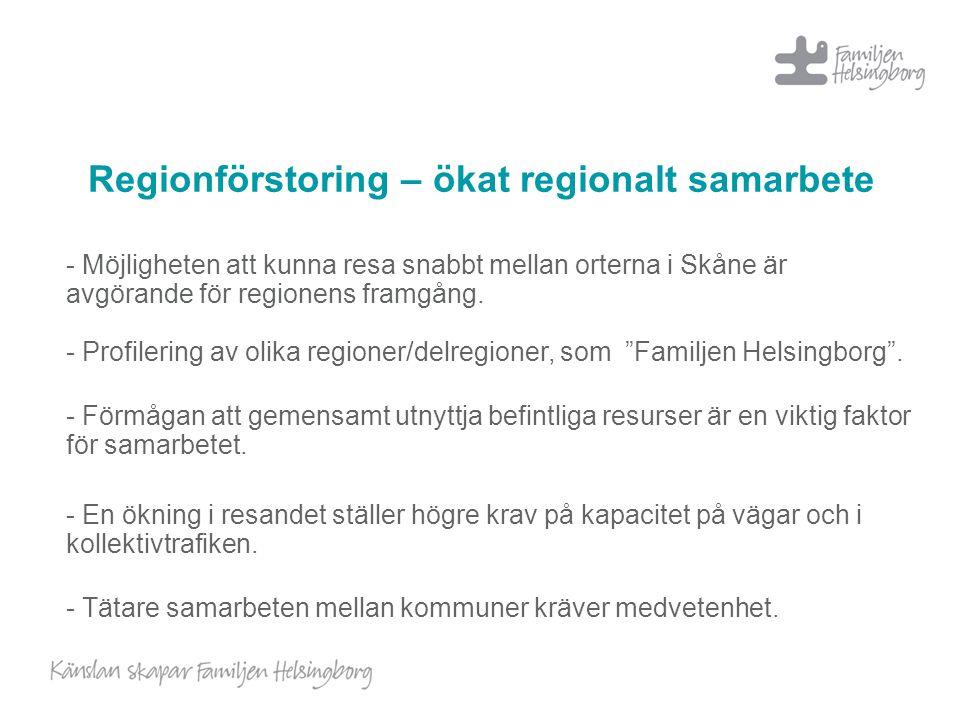 Regionförstoring – ökat regionalt samarbete - Möjligheten att kunna resa snabbt mellan orterna i Skåne är avgörande för regionens framgång. - Profiler