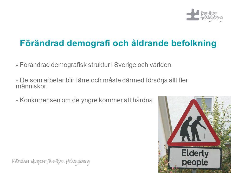 Förändrad demografi och åldrande befolkning - Förändrad demografisk struktur i Sverige och världen. - De som arbetar blir färre och måste därmed försö