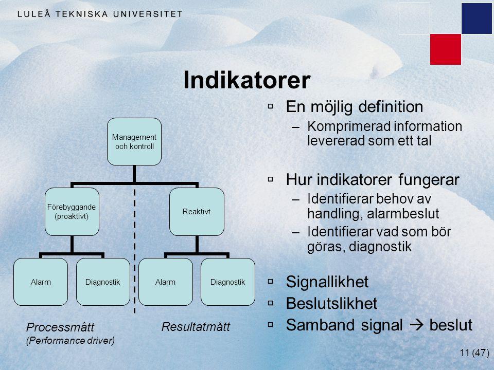 11 (47) Indikatorer  En möjlig definition –Komprimerad information levererad som ett tal  Hur indikatorer fungerar –Identifierar behov av handling,