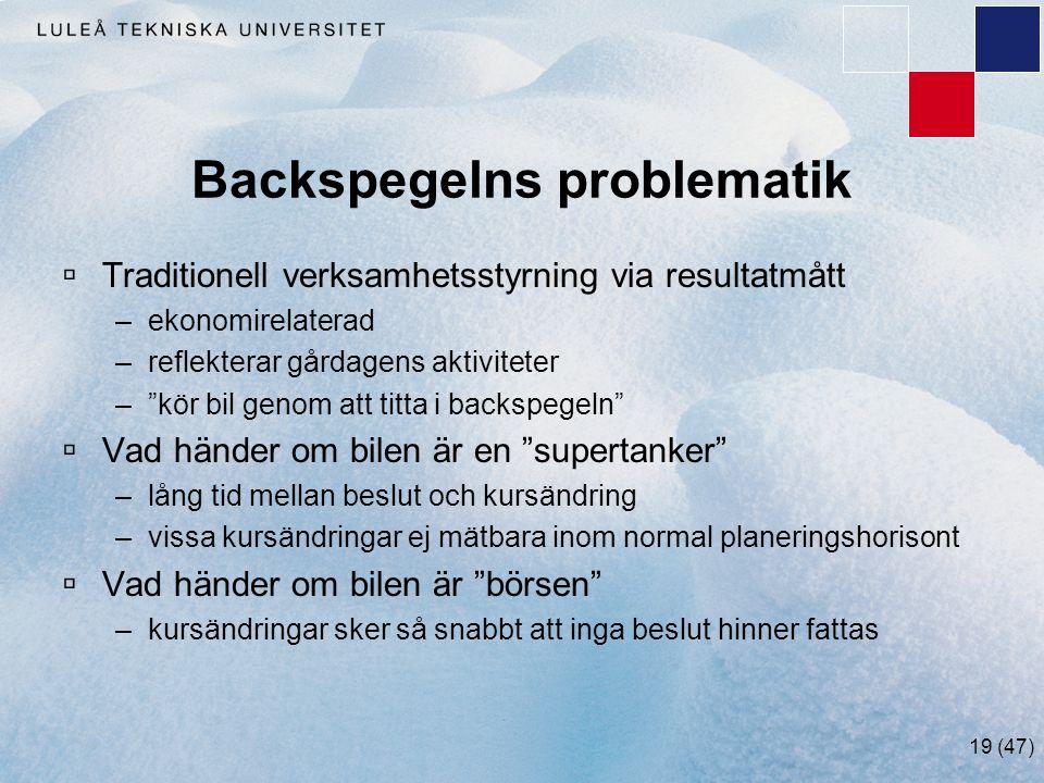 """19 (47) Backspegelns problematik  Traditionell verksamhetsstyrning via resultatmått –ekonomirelaterad –reflekterar gårdagens aktiviteter –""""kör bil ge"""
