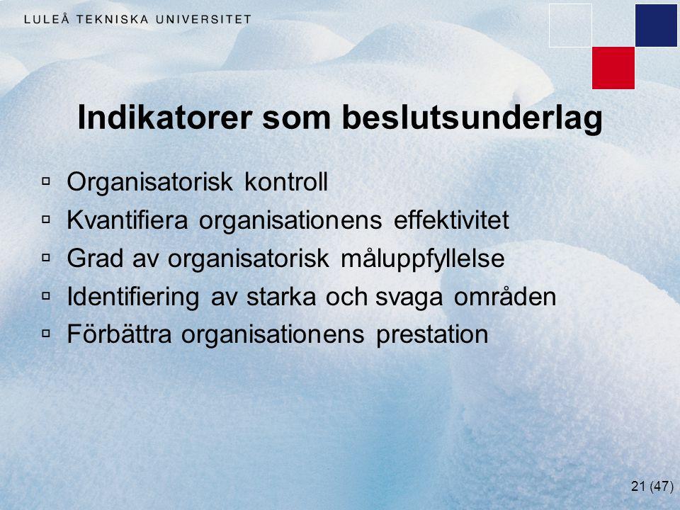 21 (47) Indikatorer som beslutsunderlag  Organisatorisk kontroll  Kvantifiera organisationens effektivitet  Grad av organisatorisk måluppfyllelse 