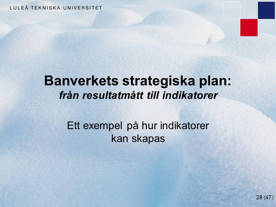 28 (47) Banverkets strategiska plan: från resultatmått till indikatorer Ett exempel på hur indikatorer kan skapas