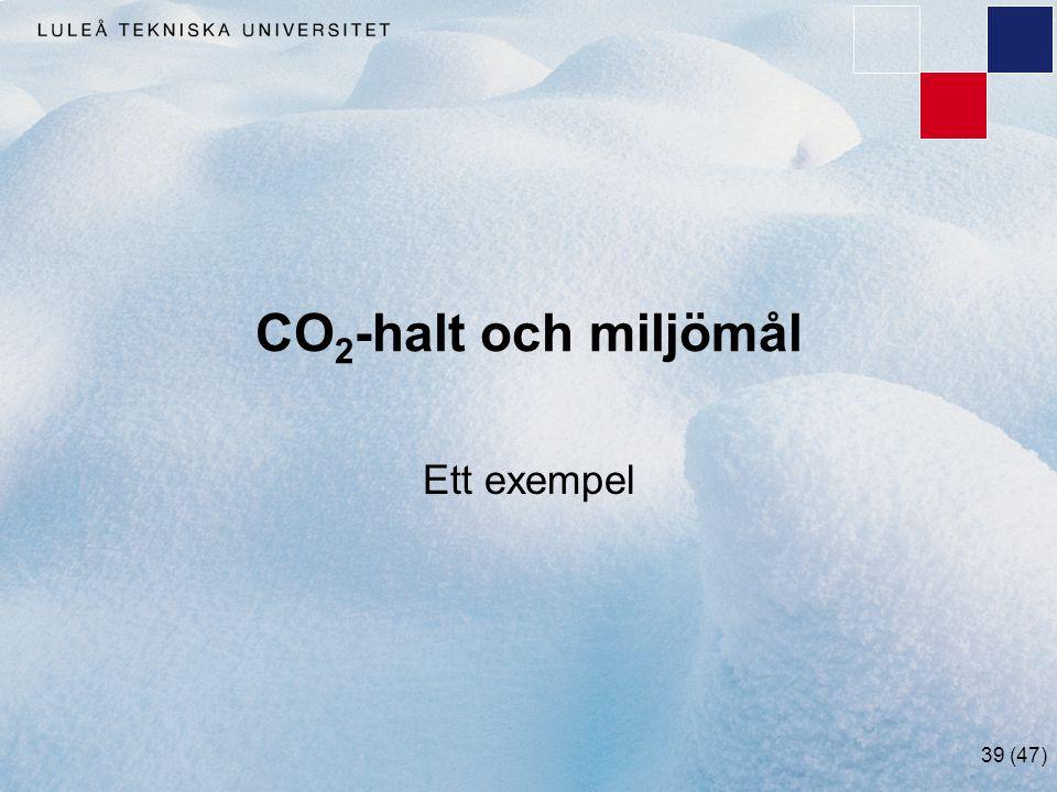 39 (47) CO 2 -halt och miljömål Ett exempel