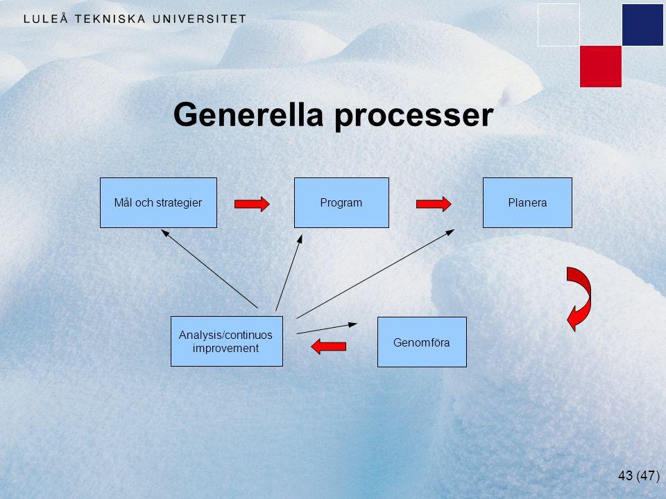 43 (47) Generella processer Mål och strategierProgram Genomföra Analysis/continuos improvement Planera