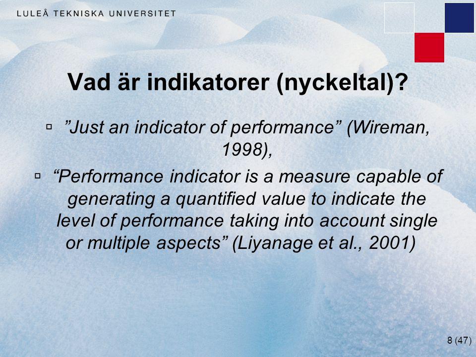 "8 (47) Vad är indikatorer (nyckeltal)?  ""Just an indicator of performance"" (Wireman, 1998),  ""Performance indicator is a measure capable of generati"