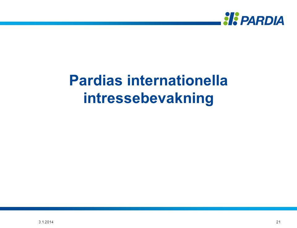 Pardias internationella intressebevakning 213.1.2014