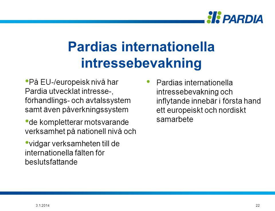 Pardias internationella intressebevakning • På EU-/europeisk nivå har Pardia utvecklat intresse-, förhandlings- och avtalssystem samt även påverkningssystem • de kompletterar motsvarande verksamhet på nationell nivå och • vidgar verksamheten till de internationella fälten för beslutsfattande • Pardias internationella intressebevakning och inflytande innebär i första hand ett europeiskt och nordiskt samarbete 223.1.2014