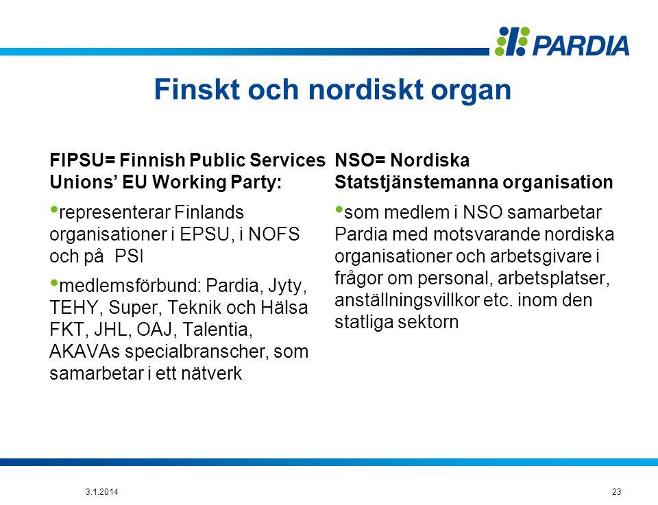 Finskt och nordiskt organ FIPSU= Finnish Public Services Unions' EU Working Party: • representerar Finlands organisationer i EPSU, i NOFS och på PSI • medlemsförbund: Pardia, Jyty, TEHY, Super, Teknik och Hälsa FKT, JHL, OAJ, Talentia, AKAVAs specialbranscher, som samarbetar i ett nätverk NSO= Nordiska Statstjänstemanna organisation • som medlem i NSO samarbetar Pardia med motsvarande nordiska organisationer och arbetsgivare i frågor om personal, arbetsplatser, anställningsvillkor etc.