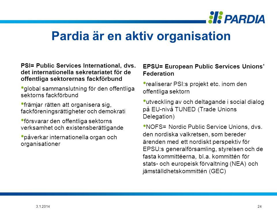 Pardia är en aktiv organisation PSI= Public Services International, dvs.