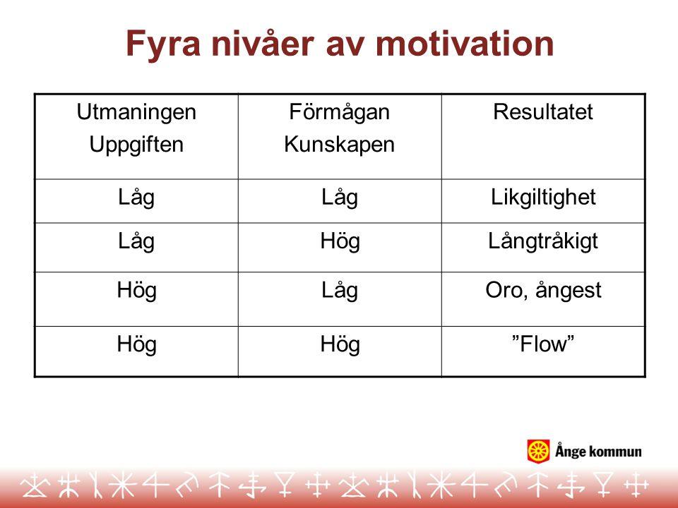 """Fyra nivåer av motivation Utmaningen Uppgiften Förmågan Kunskapen Resultatet Låg Likgiltighet LågHögLångtråkigt HögLågOro, ångest Hög """"Flow"""""""