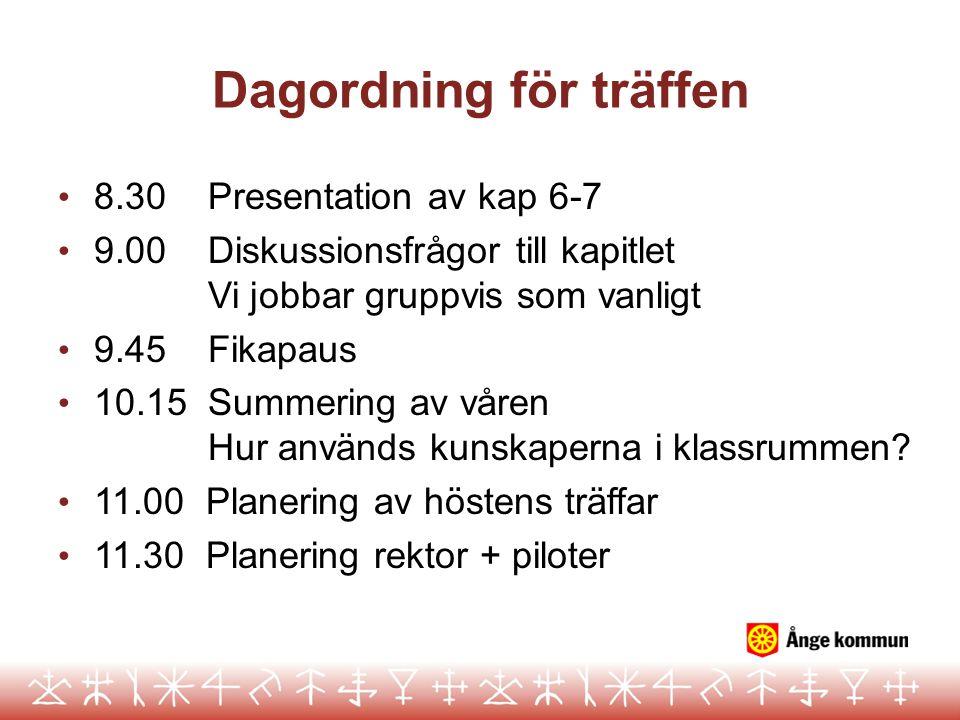 Dagordning för träffen • 8.30 Presentation av kap 6-7 • 9.00 Diskussionsfrågor till kapitlet Vi jobbar gruppvis som vanligt • 9.45 Fikapaus • 10.15 Su