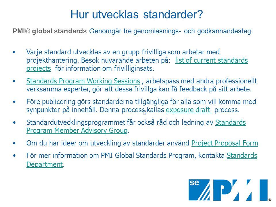 Hur utvecklas standarder? PMI® global standards Genomgår tre genomläsnings- och godkännandesteg: •Varje standard utvecklas av en grupp frivilliga som