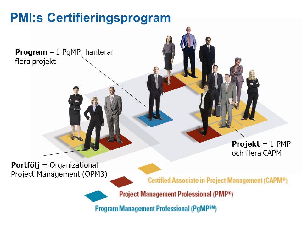 17 Program = 1 PgMP hanterar flera projekt PMI:s Certifieringsprogram Projekt = 1 PMP och flera CAPM Portfölj = Organizational Project Management (OPM3)