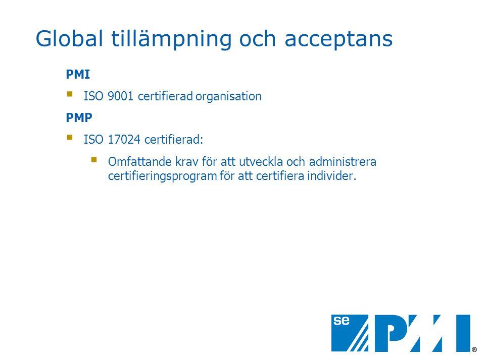 Global tillämpning och acceptans PMI  ISO 9001 certifierad organisation PMP  ISO 17024 certifierad:  Omfattande krav för att utveckla och administrera certifieringsprogram för att certifiera individer.