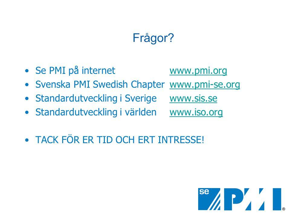 Frågor? •Se PMI på internet www.pmi.orgwww.pmi.org •Svenska PMI Swedish Chapter www.pmi-se.orgwww.pmi-se.org •Standardutveckling i Sverige www.sis.sew
