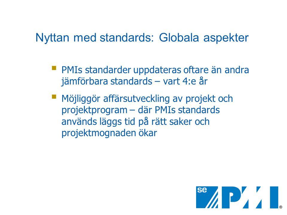  PMIs standarder uppdateras oftare än andra jämförbara standards – vart 4:e år  Möjliggör affärsutveckling av projekt och projektprogram – där PMIs standards används läggs tid på rätt saker och projektmognaden ökar Nyttan med standards: Globala aspekter