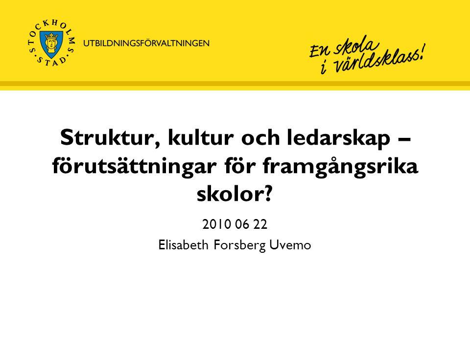 Struktur, kultur och ledarskap – förutsättningar för framgångsrika skolor? 2010 06 22 Elisabeth Forsberg Uvemo