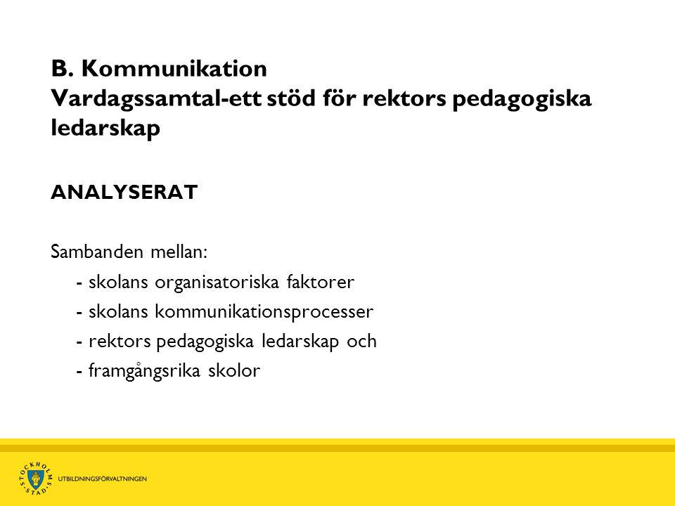 B. Kommunikation Vardagssamtal-ett stöd för rektors pedagogiska ledarskap ANALYSERAT Sambanden mellan: - skolans organisatoriska faktorer - skolans ko