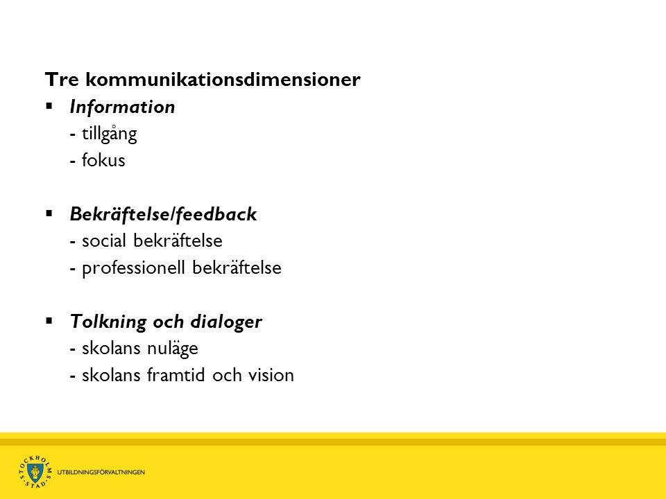 Tre kommunikationsdimensioner  Information - tillgång - fokus  Bekräftelse/feedback - social bekräftelse - professionell bekräftelse  Tolkning och