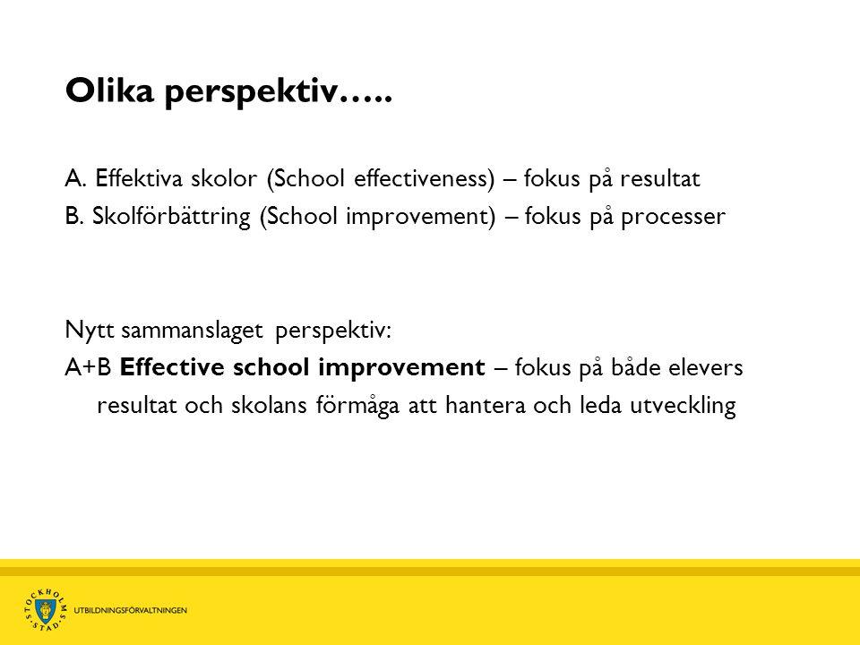 Olika perspektiv….. A. Effektiva skolor (School effectiveness) – fokus på resultat B. Skolförbättring (School improvement) – fokus på processer Nytt s