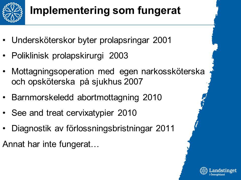 Implementering som fungerat •Undersköterskor byter prolapsringar 2001 •Poliklinisk prolapskirurgi 2003 •Mottagningsoperation med egen narkossköterska