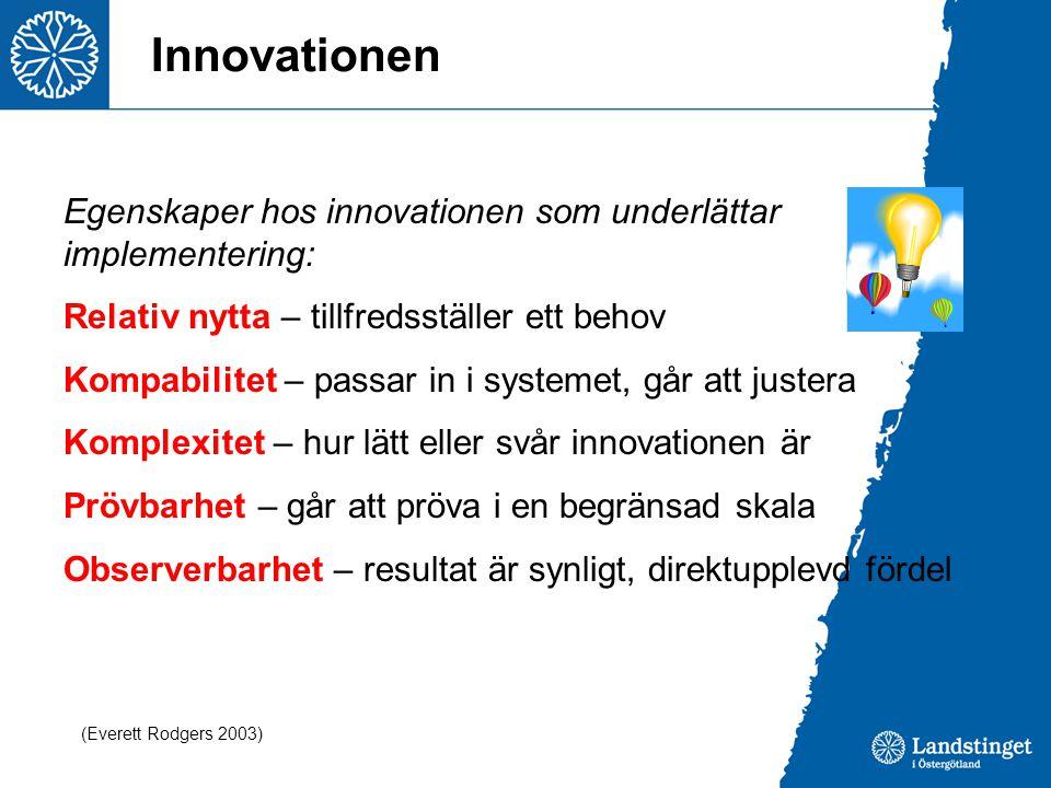 Innovationen Egenskaper hos innovationen som underlättar implementering: Relativ nytta – tillfredsställer ett behov Kompabilitet – passar in i systeme