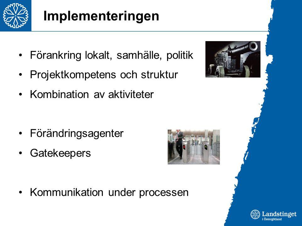 Implementeringen •Förankring lokalt, samhälle, politik •Projektkompetens och struktur •Kombination av aktiviteter •Förändringsagenter •Gatekeepers •Ko