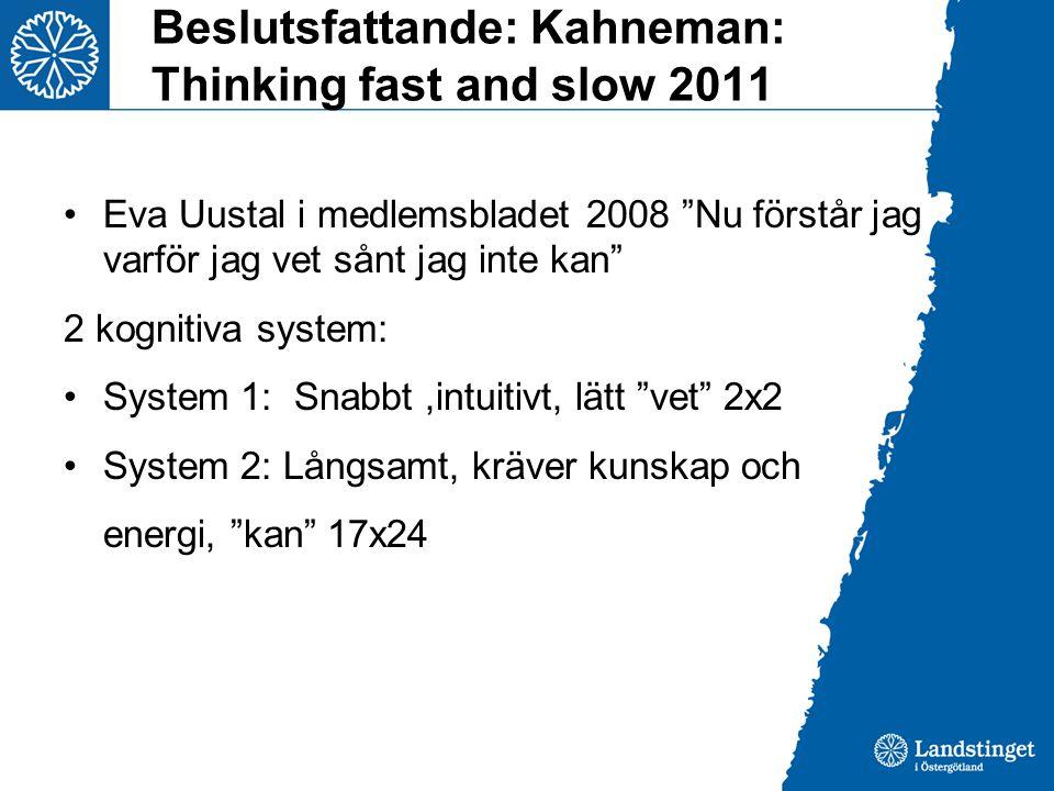 """Beslutsfattande: Kahneman: Thinking fast and slow 2011 •Eva Uustal i medlemsbladet 2008 """"Nu förstår jag varför jag vet sånt jag inte kan"""" 2 kognitiva"""