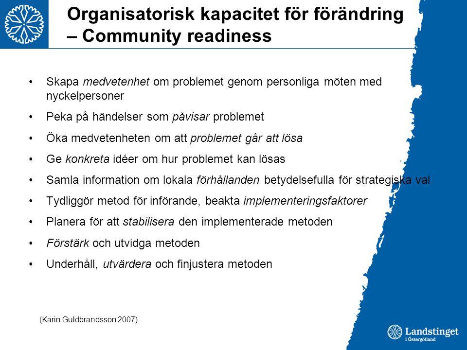 Organisatorisk kapacitet för förändring – Community readiness •Skapa medvetenhet om problemet genom personliga möten med nyckelpersoner •Peka på hände
